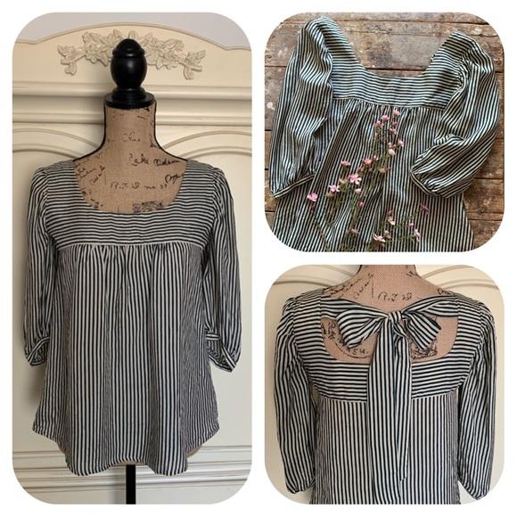 Strawberry-Fields Tops - Strawberry Frields Silk Striped Back Bow Blouse